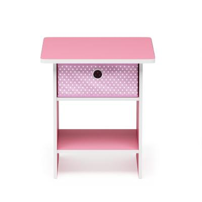 Home Living Pink/Light Pink End Table/Night Stand Storage Shelf with Bin Drawer