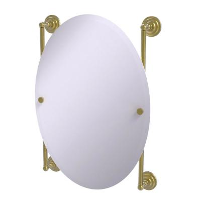 Que New Collection 21 in. x 29 in.Oval Frameless Rail Mounted Mirror in Satin Brass
