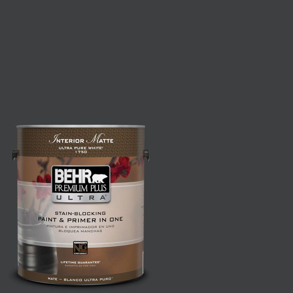 BEHR Premium Plus Ultra Home Decorators Collection 1 gal. #HDC-MD-04 Totally Black Flat/Matte Interior Paint
