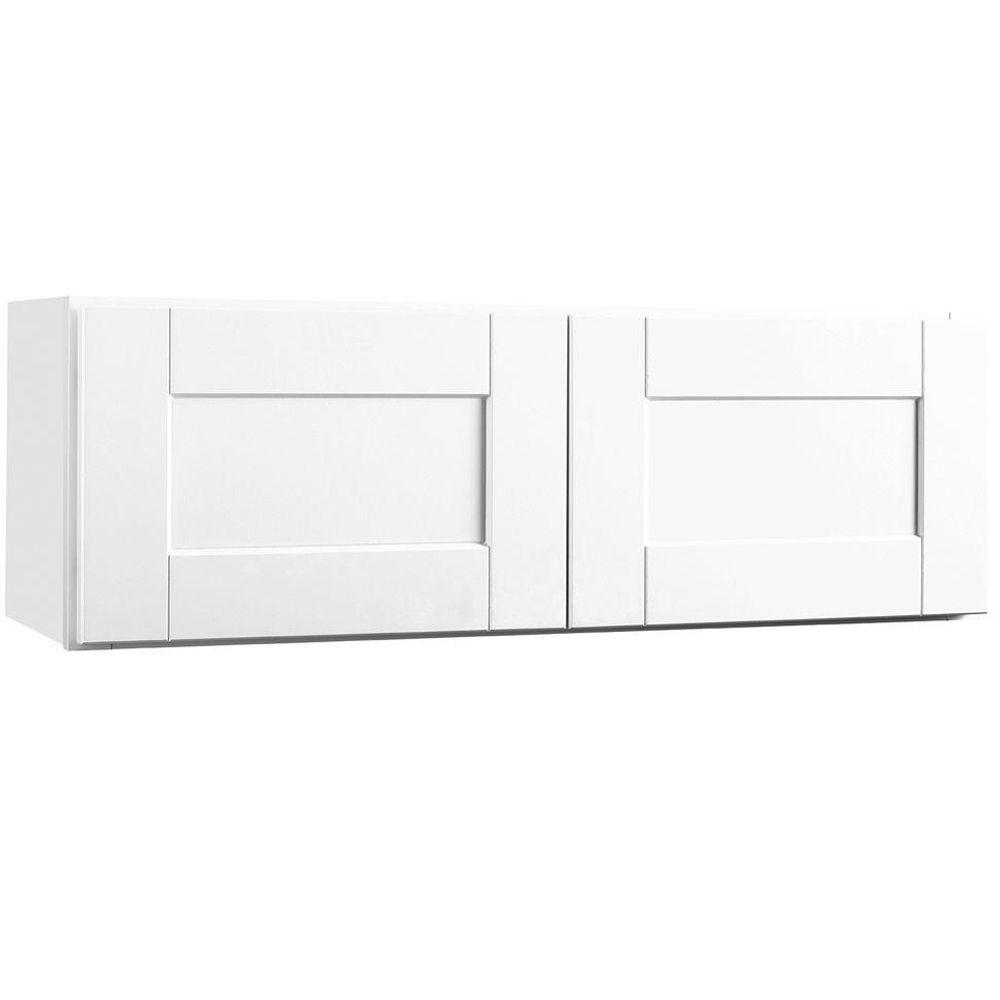 Hampton Bay Shaker Assembled 36x12x12 in. Wall Bridge Kitchen Cabinet in Satin White
