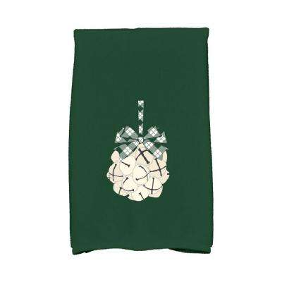 16 in. x 25 in. Dark Green Jingle Bells Holiday Geometric Print Kitchen Towel