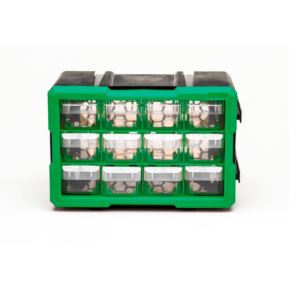 12-Compartment Interlocking Small Parts Organizer, Green or Black