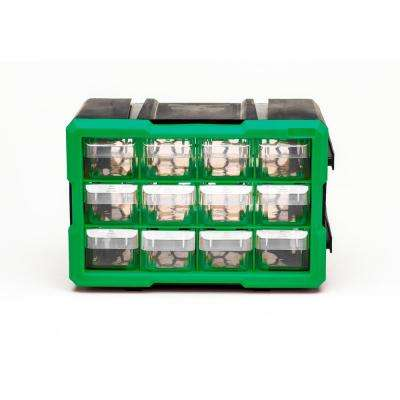 12-Compartment Interlocking Small Parts Organizer, Green or Black