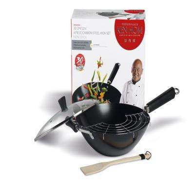 Non-Stick Carbon Stick Wok Set (4-Piece)