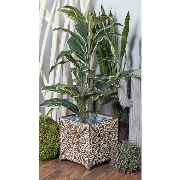 Litton Lane Gray Iron Botanical-Inspired Square Planters with Bronze Accents