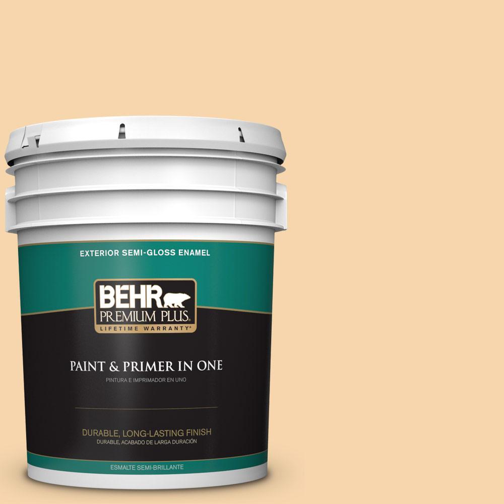 5 gal. #PPU6-08 Pale Honey Semi-Gloss Enamel Exterior Paint