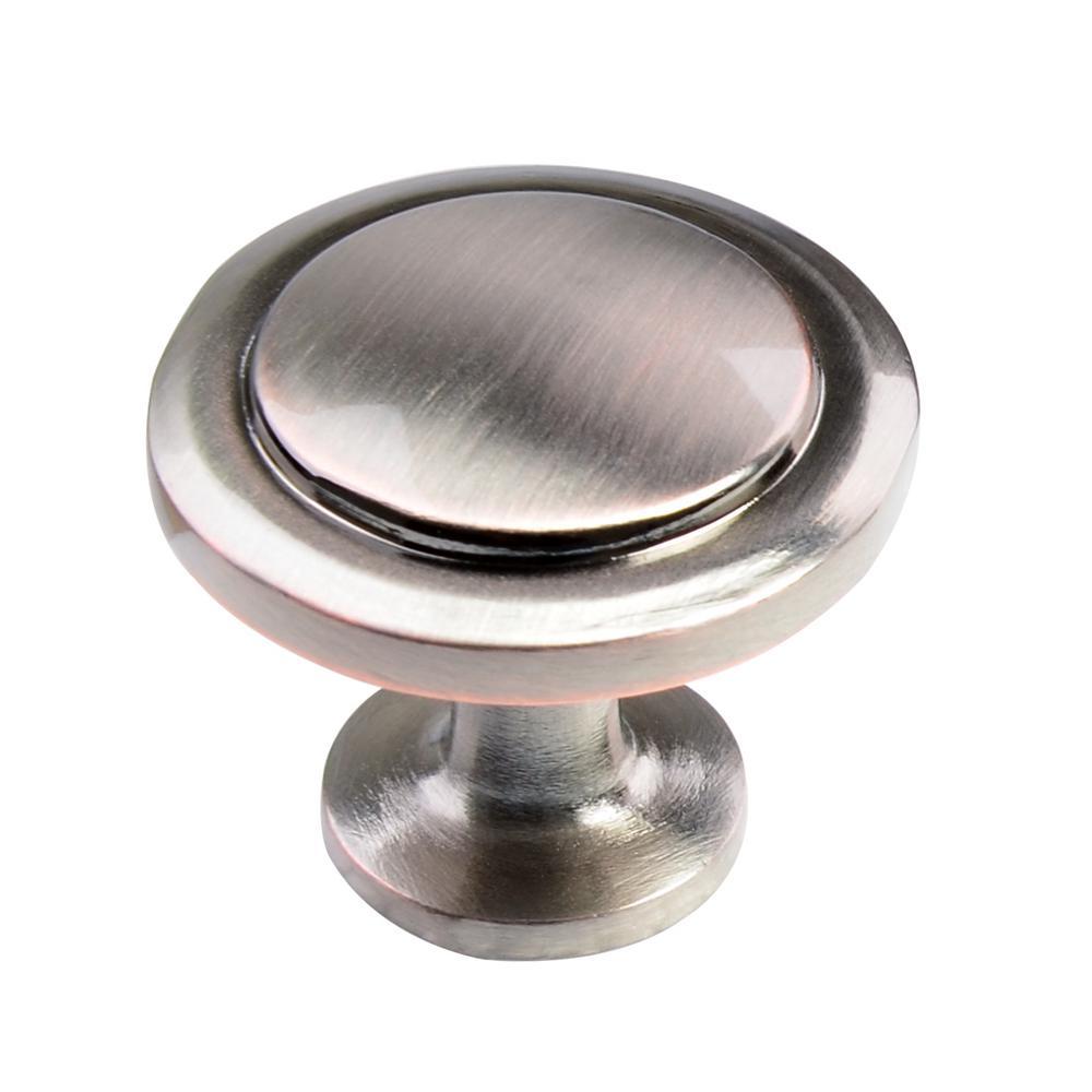 1-1/4 in. Satin Nickel Round Cabinet Knob (10-Pack)