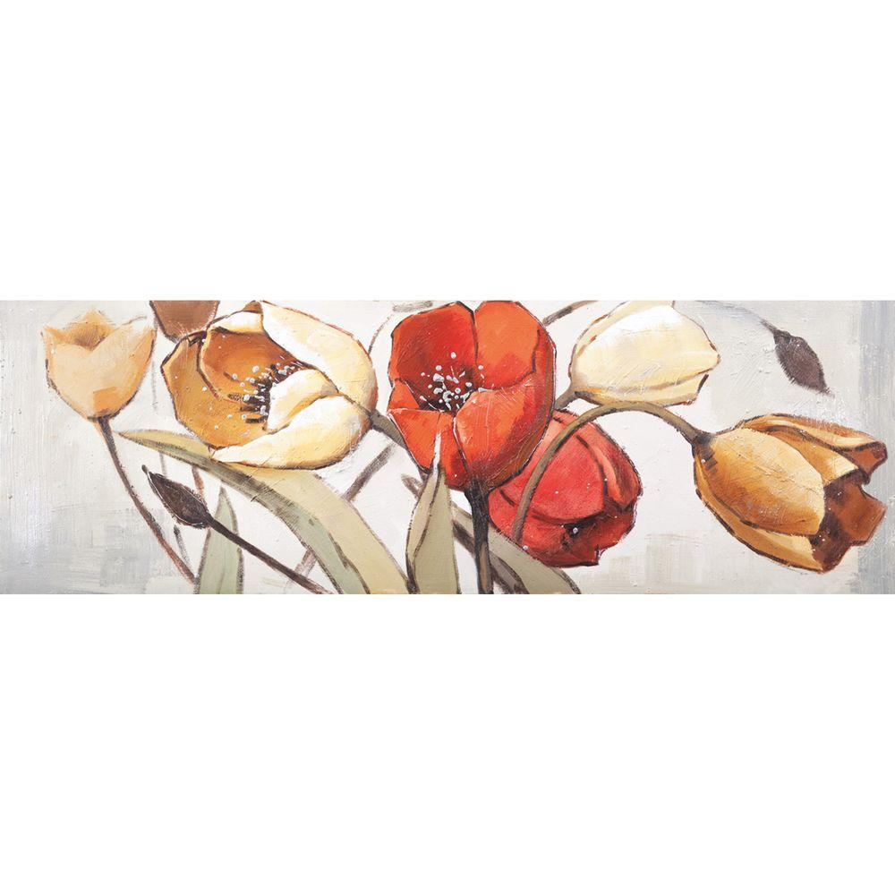 Yosemite Home Decor 60 in. x 20 in. Spring Tulips I Hand Painted Contemporary Artwork-DISCONTINUED