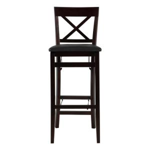 Groovy Linon Home Decor Triena 30 In Espresso X Back Folding Bar Bralicious Painted Fabric Chair Ideas Braliciousco