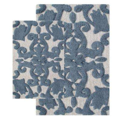 Iron Gate White and Grey 20 in. x 32 in. and 23 in. x 39 in. 2-Piece  Bath Rug Set