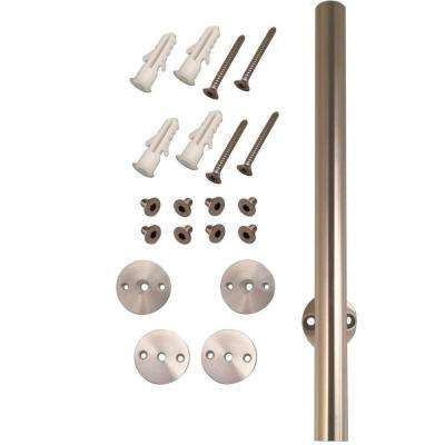 78-1/4 in. Stainless Steel Round Rail with Mounting Brackets