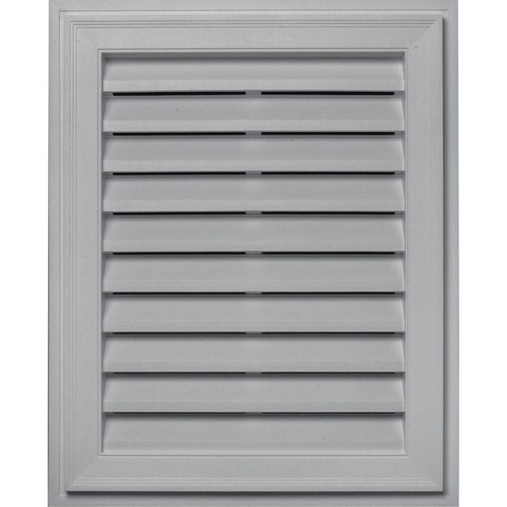 Builders Edge 20 in. x 30 in. Brickmould Gable Vent in Gray