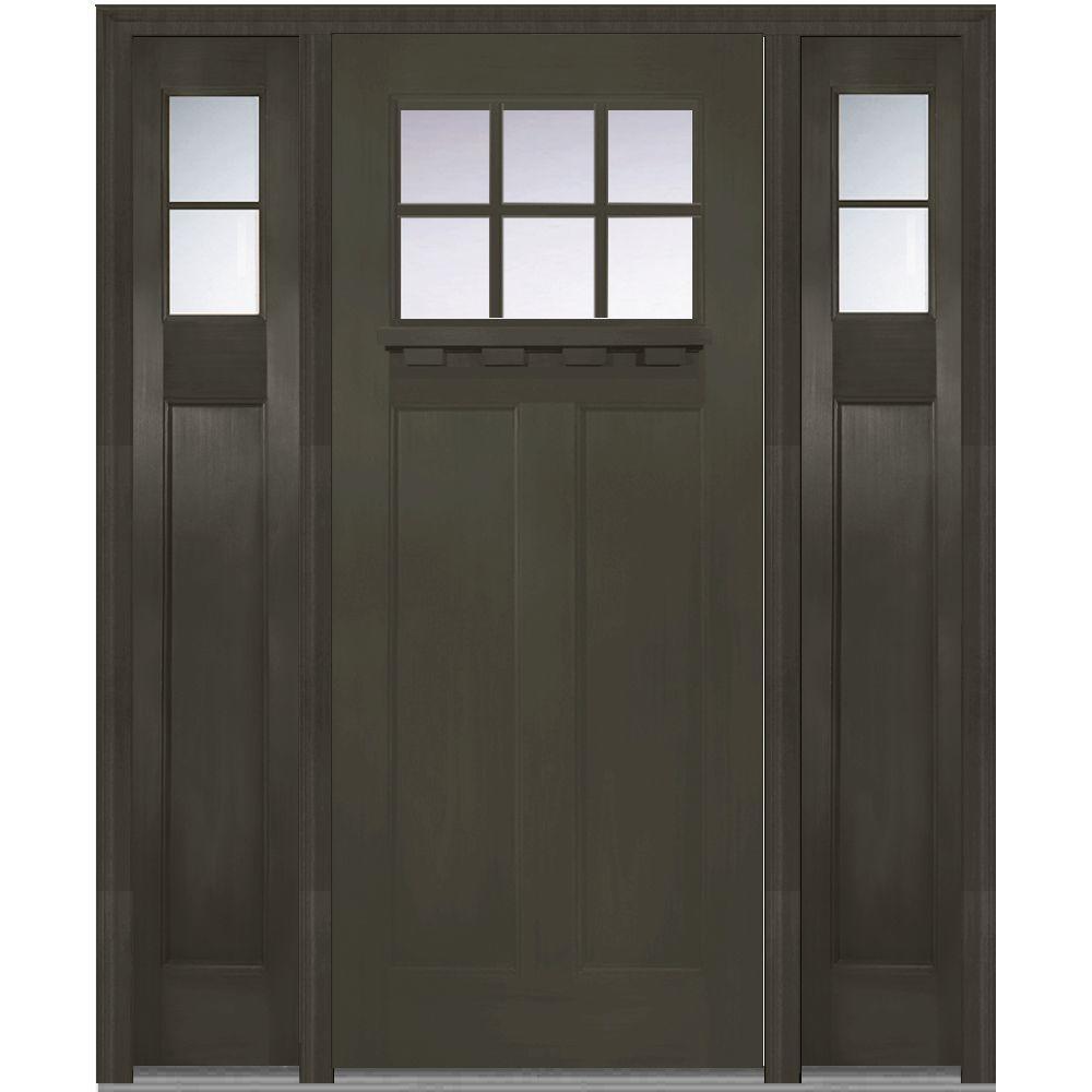 Craftsman Single Door With Sidelites Black Front Doors