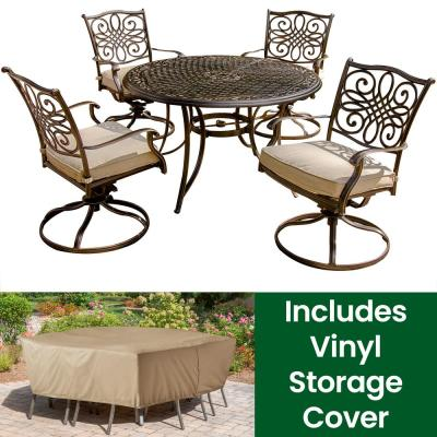 Traditions 5-Piece Aluminum Round Outdoor Dining Set with Swivel Chairs, Cover and Natural Oat Cushions included