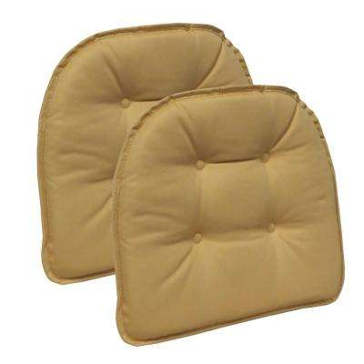 Gripper Non-Slip 15 in. x 16 in. Twill Cinder Toffee Yellow Tufted Chair Cushions (Set of 2)