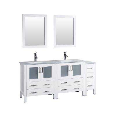 72 in. W Double Bath Vanity in White with Tempered Glass Vanity Top with White Basin and Mirror