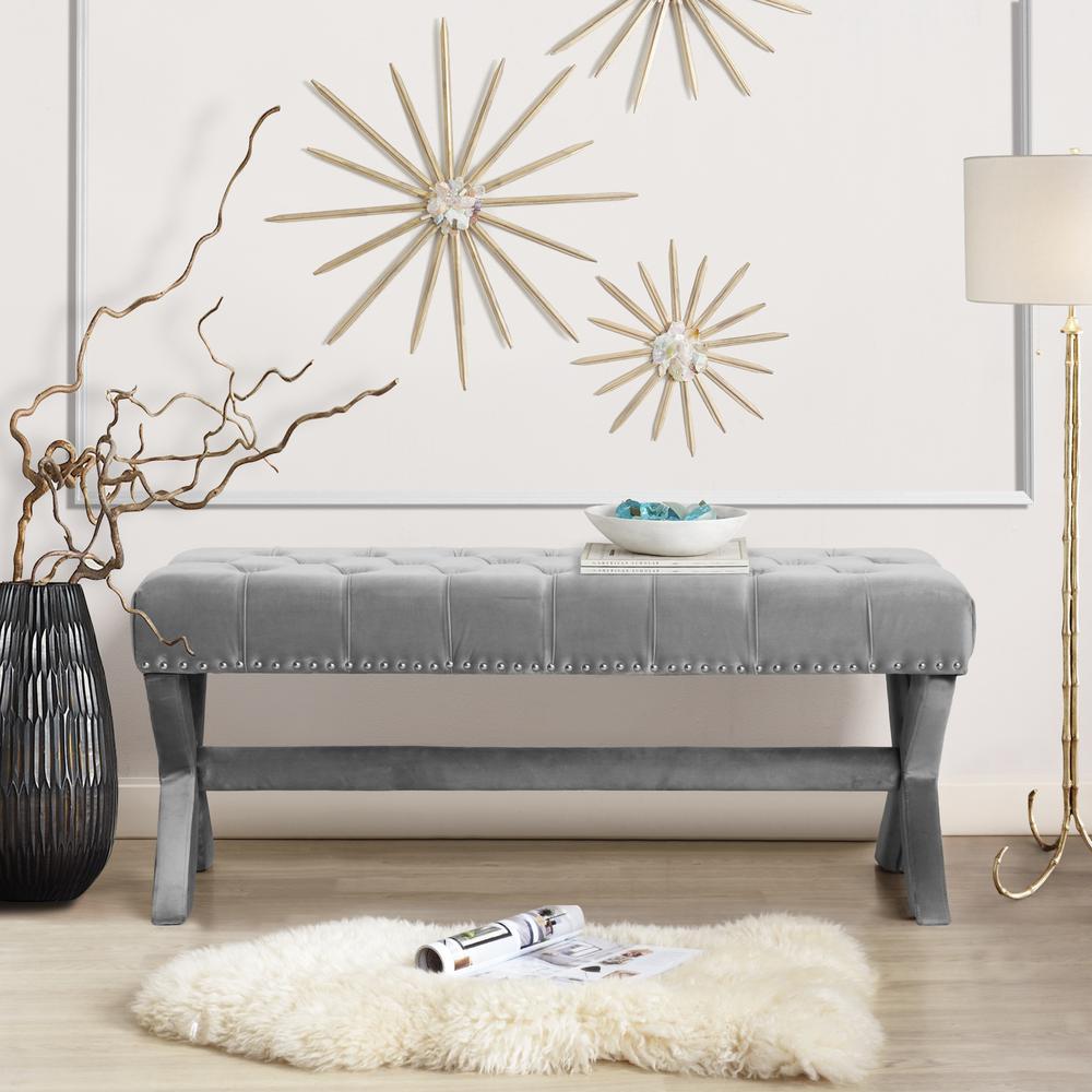 Upholstered Velvet Nailhead Trim Entryway Bedroom Living Room Bench in Gray