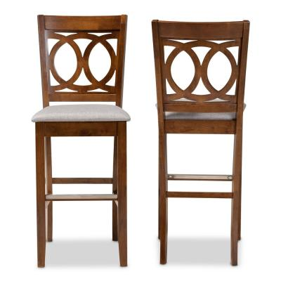 28.3 in. Carson Grey and Walnut Bar Stool (Set of 2)