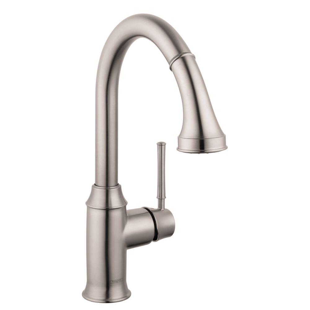 Hansgrohe Talis C Single-Handle Pull-Down Sprayer Kitchen Faucet in Steel Optik