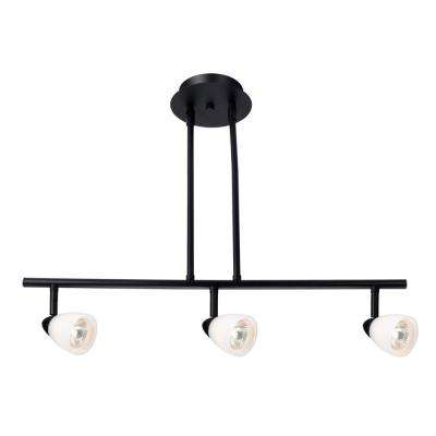 Jerico 3-Light Oil Rubbed Bronze Rail Lighting with Frosted White Glass Shades