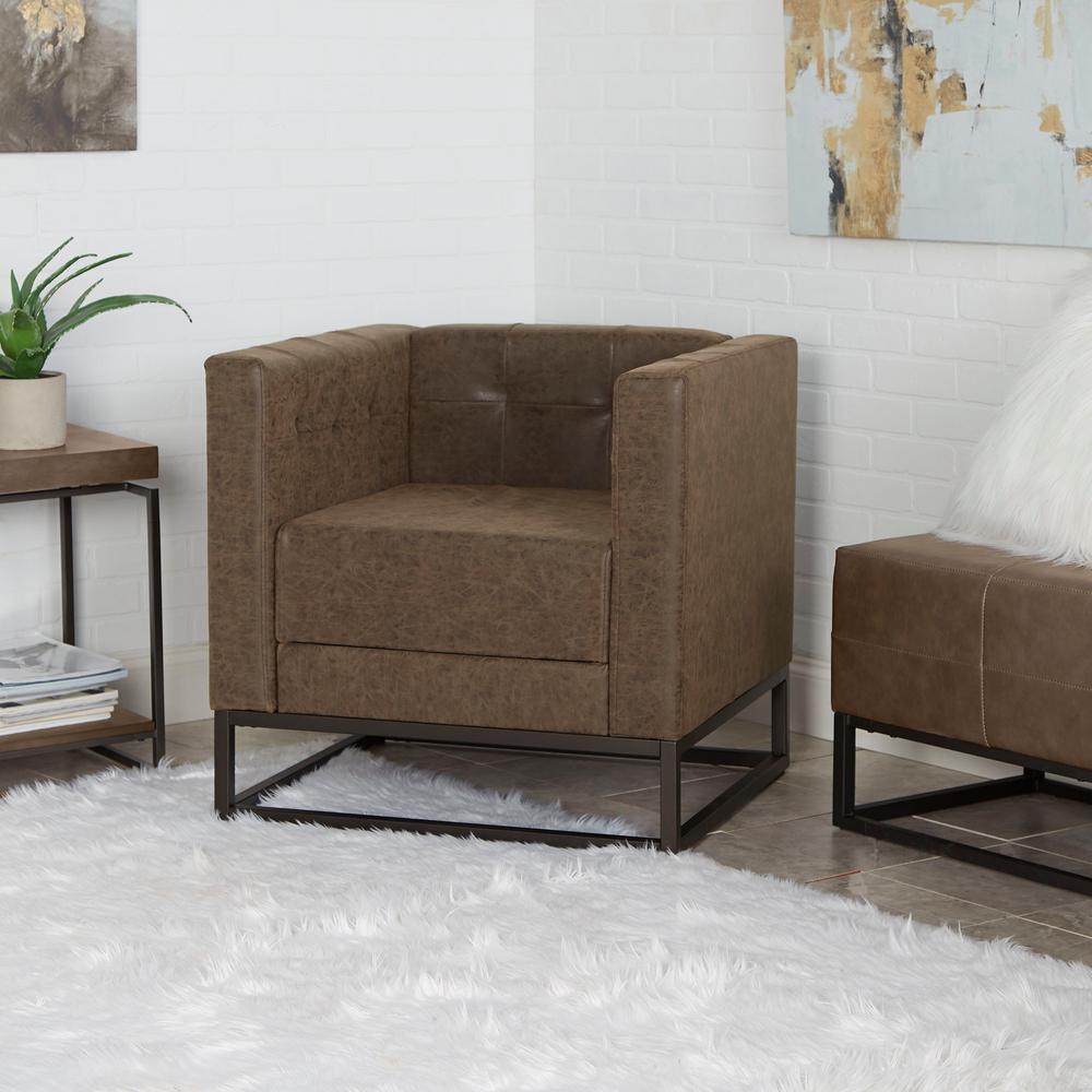 Carraway distressed brown upholstered metal base side chair