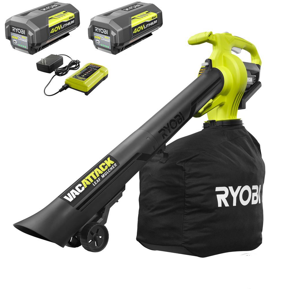 RYOBI 40-Volt Lithium-Ion Cordless Leaf Vacuum/Mulcher- Two 4.0 Ah Batteries and 1 Charger Included