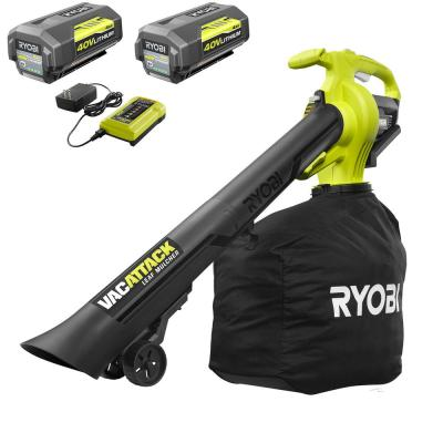 40-Volt Lithium-Ion Cordless Leaf Vacuum/Mulcher- Two 4.0 Ah Batteries and 1 Charger Included
