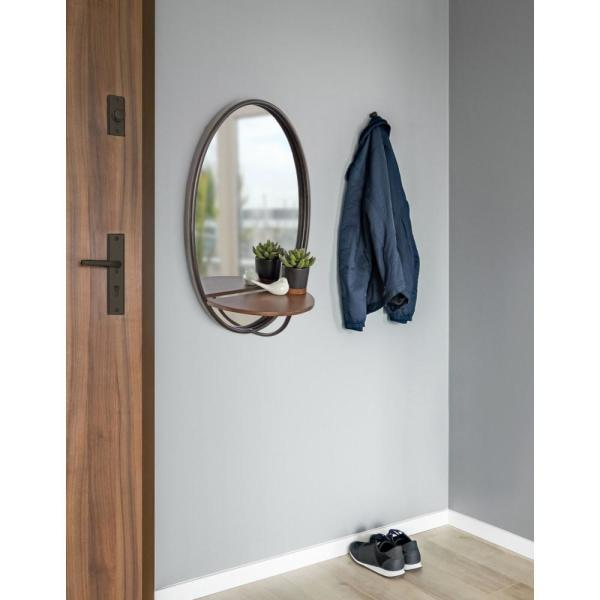 Kate And Laurel Gita 24 In X 15 In Rustic Modern Oval Metal Framed Wall Mirror With Wood Shelf 217190 The Home Depot