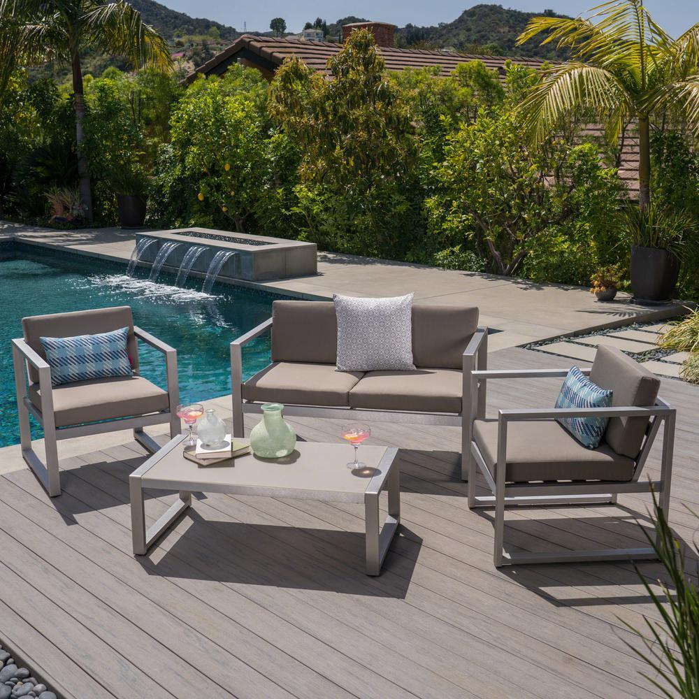 Noble House 4 pc Metal Patio Conversation Set w/ Khaki Cushions