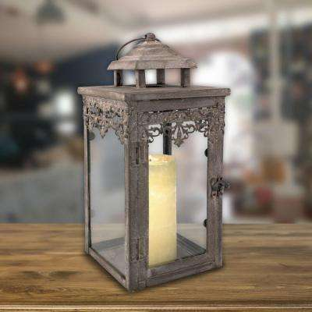 6 in. W x 13 in. H Vintage Zinc Filigree Lantern