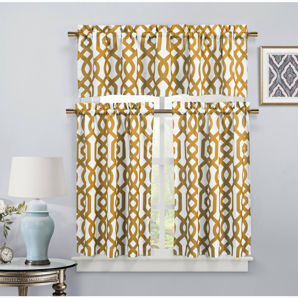 Ashmont Canvas Orange Room Darkening Kitchen Curtain - 58 in. W x 15 in. L (2-Piece)