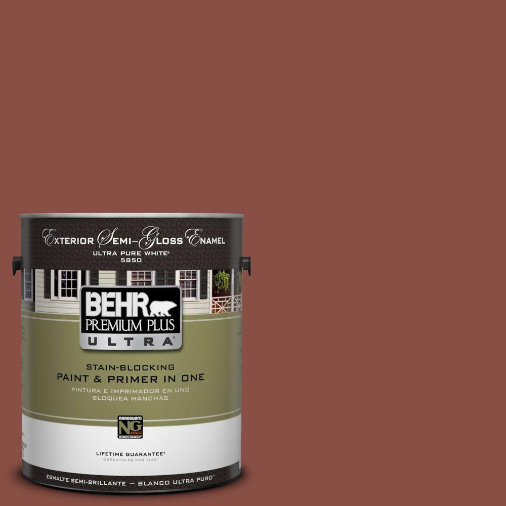 BEHR Premium Plus Ultra 1-Gal. #UL120-2 Spice Semi-Gloss Enamel Exterior Paint