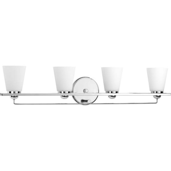 Flight Collection 4-Light Polished Chrome Bathroom Vanity Light with Glass Shades