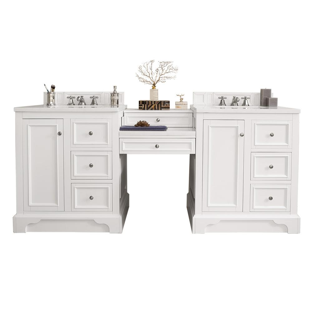 James Martin Vanities De Soto 82 in. W Double Vanity in Bright White with Soild Surface Vanity Top in Arctic Fall with White Basin
