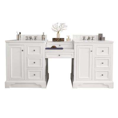 De Soto 82 in. W Double Vanity in Bright White with Soild Surface Vanity Top in Arctic Fall with White Basin