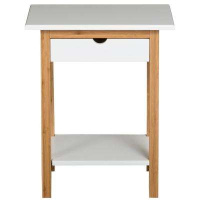 White 1-Drawer End Table