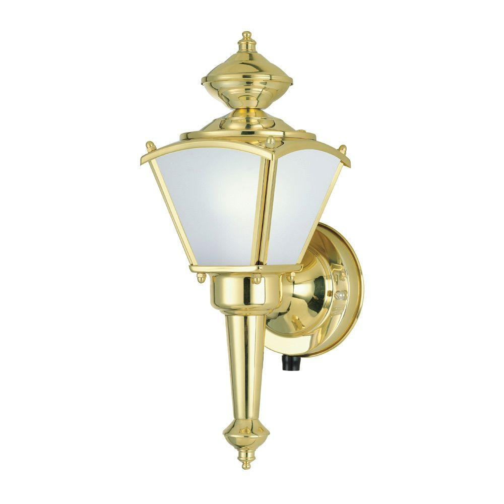 Westinghouse 1-Light Polished Solid Brass Exterior Wall Lantern with Dusk to Dawn Sensor and Frosted Glass Panels-DISCONTINUED