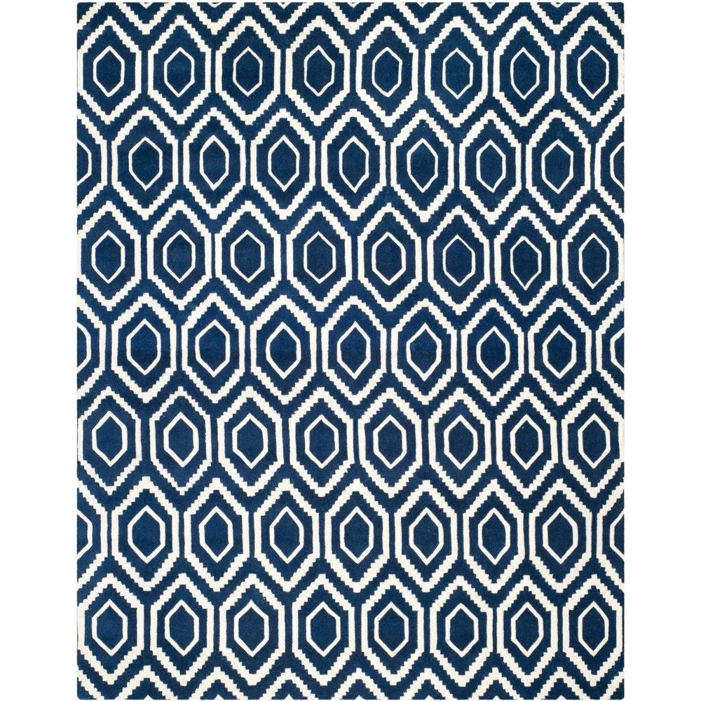 Safavieh Chatham Dark Blue Ivory 8 Ft X 10 Ft Area Rug