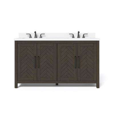 Leary 60 in. W x 34.5 in. H Bath Vanity in Dark Brown with Engineered Stone Vanity Top in White with White Basin