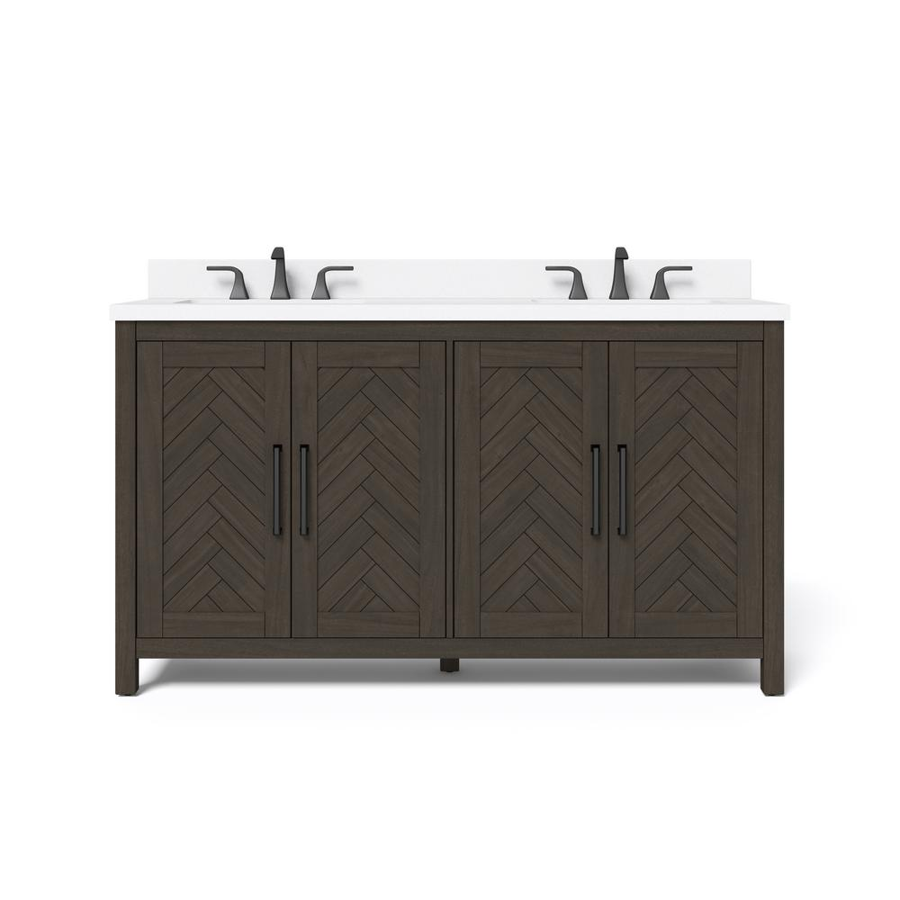 Whalen 60 in. W x 34.5 in. H Bath Vanity in Dark Brown with Engineered Stone Vanity Top in White with White Basin