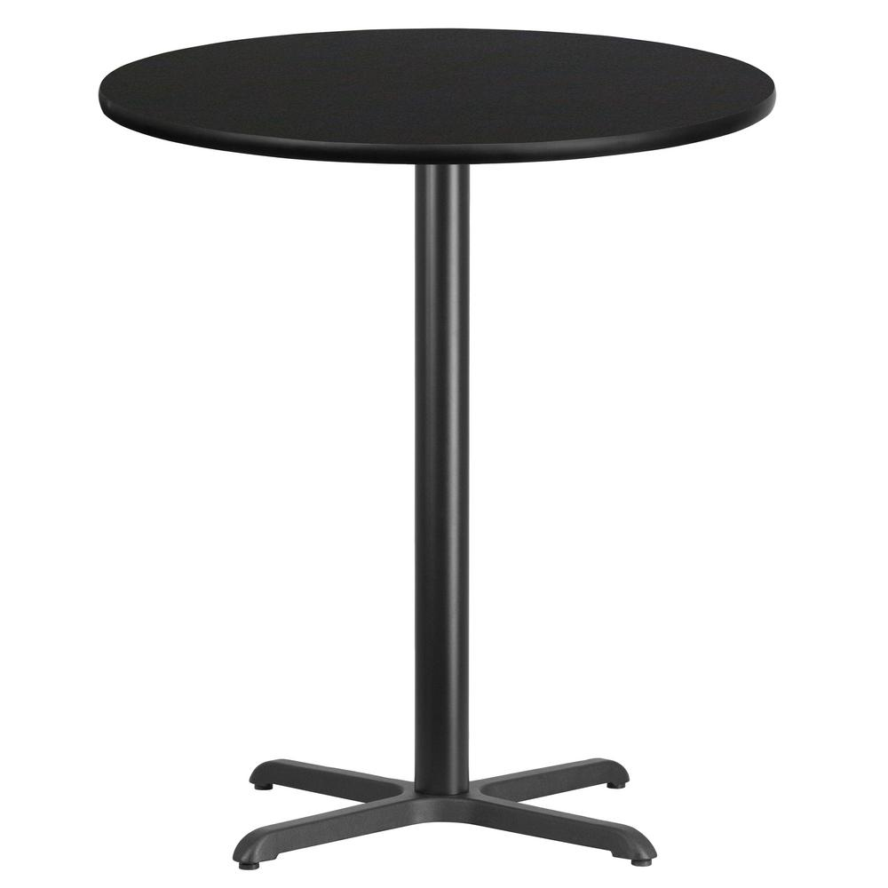 Round Black Laminate Table Top With 30 In X 30 In Bar Height Table Base Xurd36bkt3030b The Home Depot
