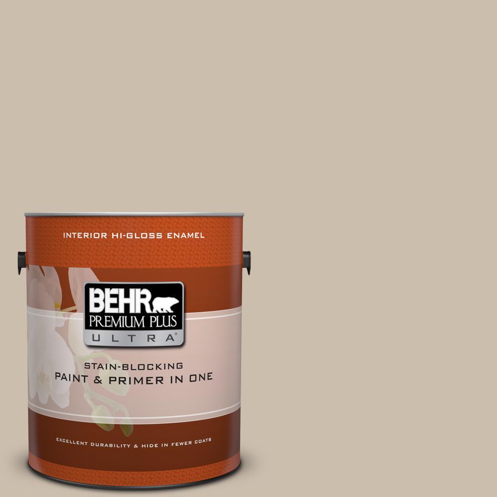 1 gal. #HDC-AC-10 Bungalow Beige Hi-Gloss Enamel Interior Paint