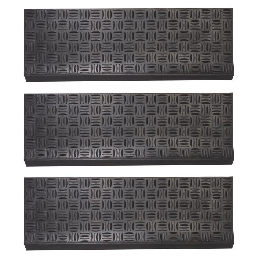 Black 30 in. x 10 in. Rubber Outdoor/Indoor Non-Slip Stair Tread Cover (Set of 3)