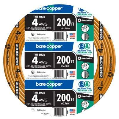 200 ft. 4 Solid Bare Copper Cable