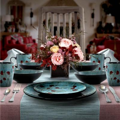 Floral Accents 16-Piece Bohemian Blue Stoneware Dinnerware Set (Service for 4)