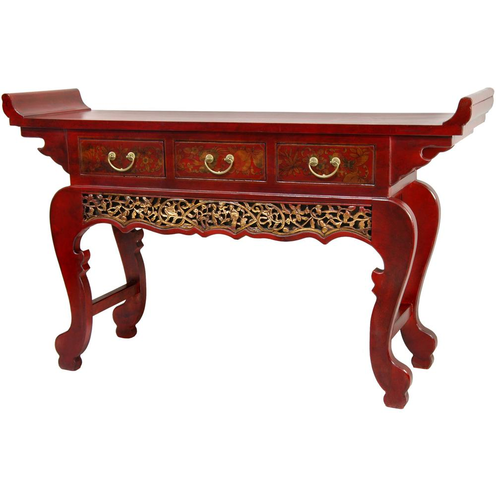 Oriental furniture red lacquer altar table cabinet lq for Red chinese furniture