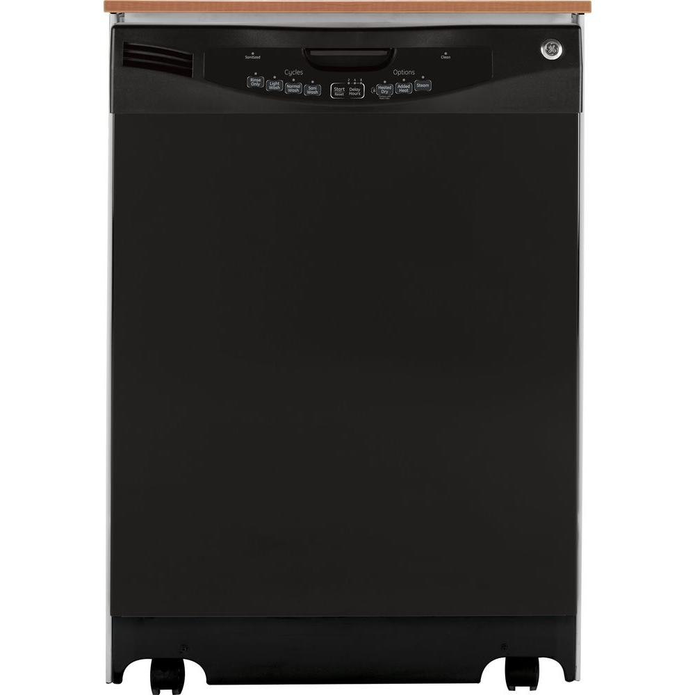 GE Portable Dishwasher in Black with 16 Place Settings Capacity