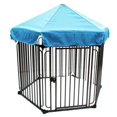 Heavy-Duty Modular Dog Playpen with Door and Umbrella