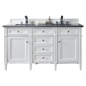 James Martin Signature Vanities Brittany 60 inch W Double Vanity in Cottage White with Quartz Vanity Top in Gray with... by James Martin Signature Vanities