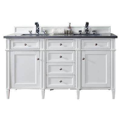 Brittany 60 in. W Double Vanity in Cottage White with Quartz Vanity Top in Gray with White Basin